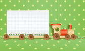 Toy railway background. Template for a text — Vettoriale Stock