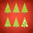 Six ornamented christmas trees collection — Stock Vector #8273471