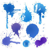 Blue ink blot collection isolated on white background — Stock Vector