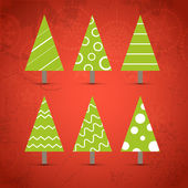 Six ornamented christmas trees collection — Stock Vector