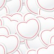 Valentine seamless background of white and red hearts — Stock Vector