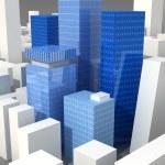 Blue transparent glass skyscrapers — Stock Photo