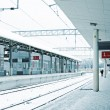 Empty station in winter — Stock Photo
