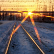 Train tracks in the evening - Foto Stock
