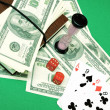 Cards, money and the dice — Stock Photo
