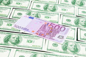 Euro banknote lying on the dollars background — Stock Photo