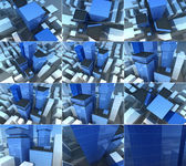 Blue transparent glass skyscrapers images collection — Stock Photo