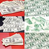 红色背景下的美元 — 图库照片