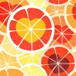 Stock Vector: Citrus seamless background. Grapefruit and orange