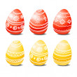 Set of red and yellow easter eggs — Vector de stock