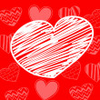 Hand-drawn white heart on red background with set of hearts — Stock Vector