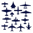 Avia set. Transport and navy airplanes and jets — Stock Vector #8461790