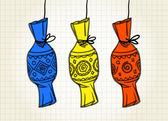 Caramelo. dibujado a mano en papel cuadrado — Vector de stock