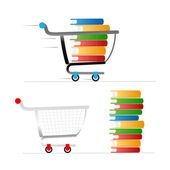 Shopping trolley with colour books — Stock Vector