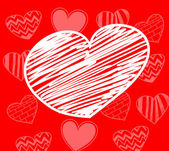 Hand-drawn white heart on red background with set of hearts — Vettoriale Stock