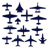 Avia set. Transport and navy airplanes and jets — Stock Vector