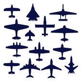 Conjunto de avia. jets y aviones de transporte y marina — Vector de stock