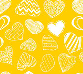 Seamless background of hearts on yellow — Stock Vector