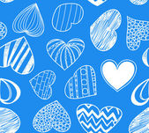 Seamless background of hearts on blue — Stok Vektör