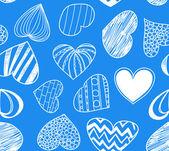 无缝背景的蓝色的心 — 图库矢量图片