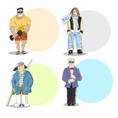 Four different men types — Vector de stock