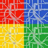 地下鉄スキームのシームレスな背景。4 つの色 — ストックベクタ