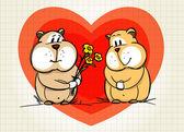 Hamster greets his girlfriend — Stock Vector