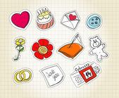 Set of love symbols on paper — Stock Vector