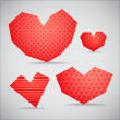 Textured valentine hearts collection — Stock Vector