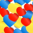 Colorful paper hearts seamless background — Stockvektor