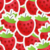 Fresh red strawberry seamless background — Stock Vector