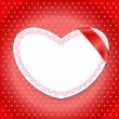 White paper heart with red ribbon — Vettoriali Stock