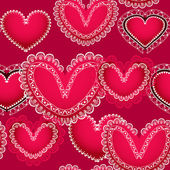 Valentine red hearts seamless background — Vector de stock