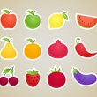 Vector fruit and vegetables silhouettes clip-art — Stock Vector