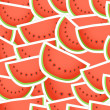 Vector de stock : Red wate melon seamless background
