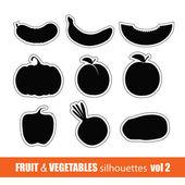 Owoce i warzywa sylwetka sztuka wektor — Wektor stockowy