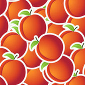 Red peaches seamless background — Stock Vector