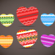 Colorful ornamental hearts collection — Stock Vector