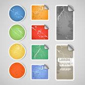 Kleurrijke winkelen vintage gekrast korting stickers — Stockvector