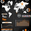 Royalty-Free Stock Vectorielle: Infographics. Earth map and different charts on black