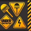 Stock Vector: Under construction. Grunge signs with lighting and spade