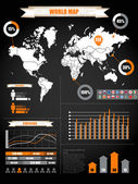 Infographics. Earth map and different charts on black — Stock Vector