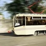 Modern city tram on moving — Stock Photo