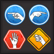 Grunge signs with hand — Stock Vector