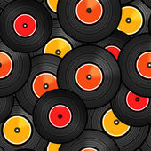 Vinyl audio discs seamless background — Vector de stock
