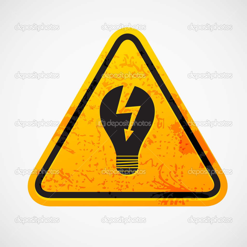 Grunge sign with the light bulb — Stock Vector #9334517