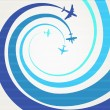 Airplanes with the spiral trajectories — Stock Vector