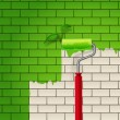 Brick wall which is painted in green color by roller — Imagen vectorial
