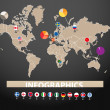 Infographics. Earth map with flags of different countries, on dark background — Stockvectorbeeld
