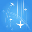 Transport and civil airplanes trajectories — Stock Vector